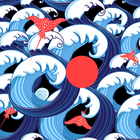 Vector abstract sea pattern from beautiful waves and rays