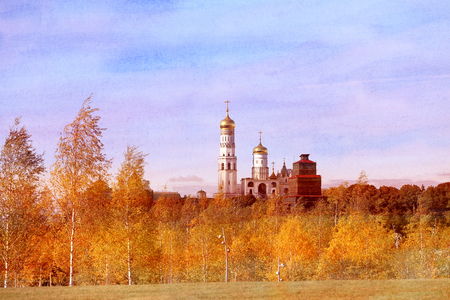 Photo view of Ivan the Great Bell Tower in Moscow Stock Photo