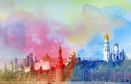 gave: Retro beautiful color photo view of the Moscow Kremlin in the autumn afternoon