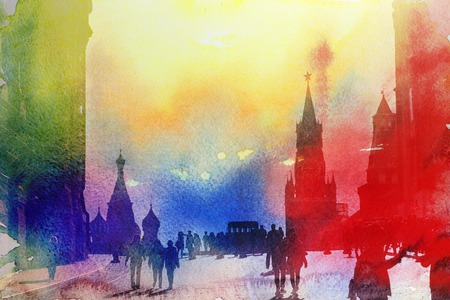 Retro beautiful color photo view of the Moscow Kremlin in the autumn afternoon
