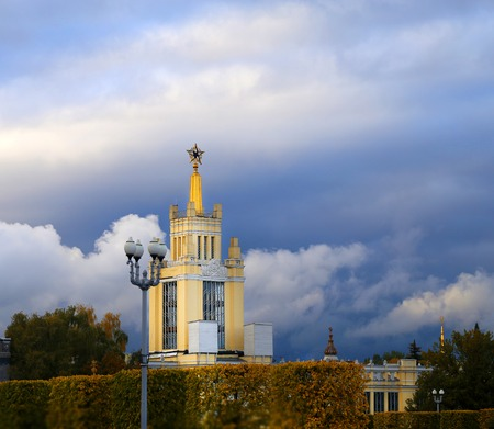 Beautiful photo of the Soviet pavilion on a cloudy day in Moscow