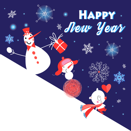 Christmas greeting card background design with funny snowmen on a snow hill Illustration