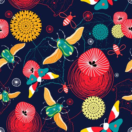 Naadloos helder patroon van vliegende groene kevers en vlinders op een donkere achtergrond
