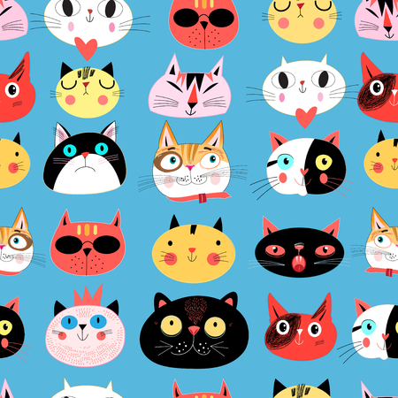 Vector bright seamless pattern of multi-colored cat portraits on a blue backgr