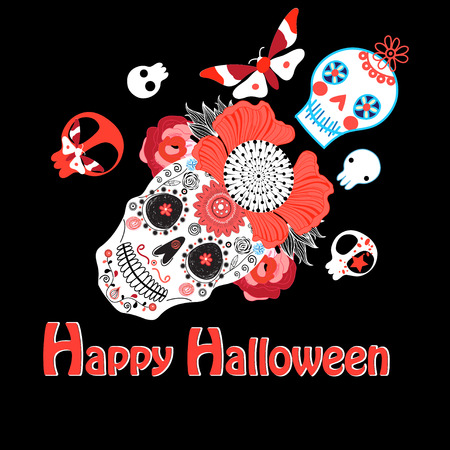 Vector bright greeting card with skulls for Halloween Иллюстрация