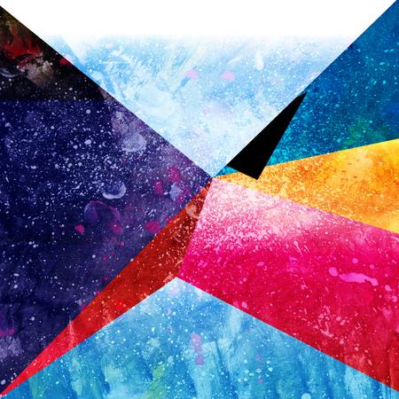 幾何学的要素を持つ明るい水彩画抽象的な素晴らしい背景