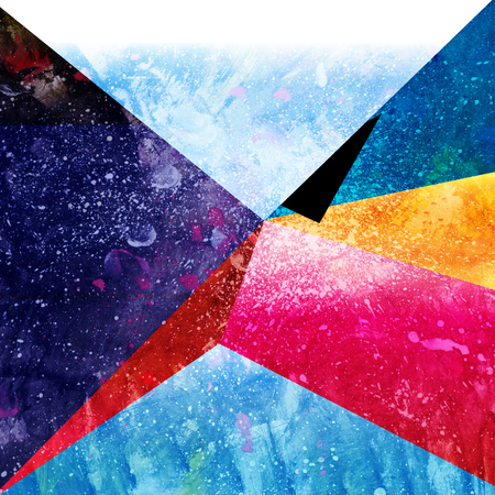 Bright watercolor abstract fantastic background with geometric elements