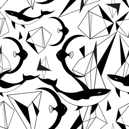 Abstract graphic pattern from geometric shapes and fish on a light background Иллюстрация