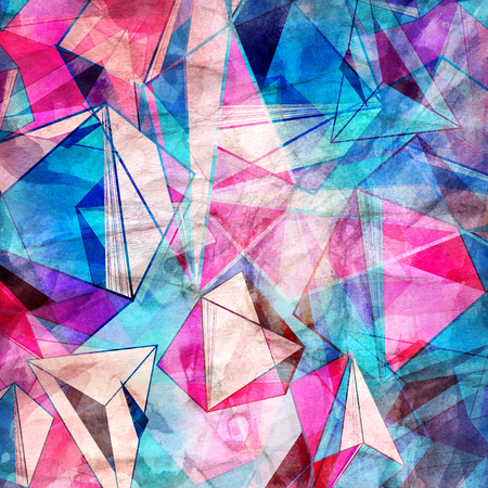 Watercolor geometric background with triangular colored elements