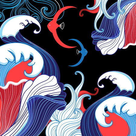 Vector abstract sea background with waves and fishes on dark