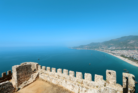 Vivid photo background of the sea and the fortress from above a sunny day Stock Photo