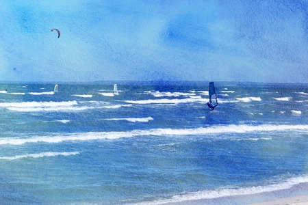 Photo of a beautiful sea with waves and kitesurfer