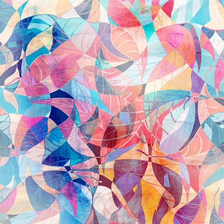 Abstract watercolor background with different fantastic elements