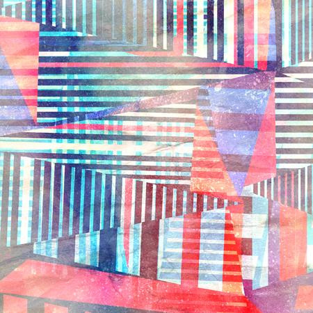 Aquarell abstrakten Hintergrund mit geometrischen farbigen Elementen Standard-Bild - 88899406