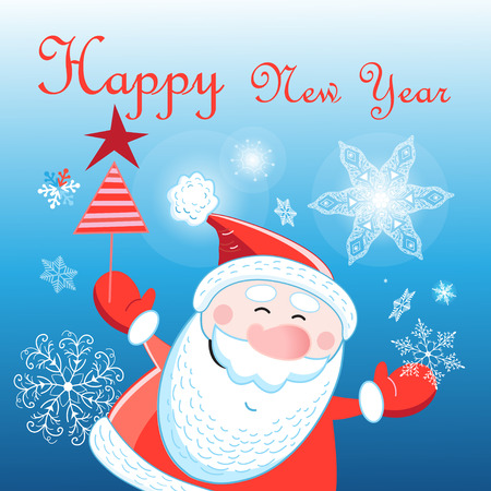 산타 클로스와 함께 새 해의 인사말 카드 눈송이와 파란색 배경에 프 로스트