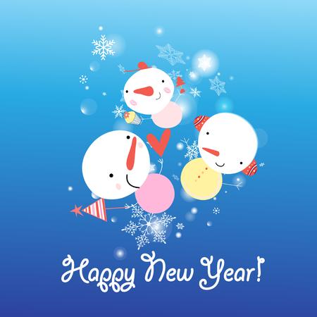 Kerstkaart met sneeuwmannen en sneeuwvlokken op een blauwe achtergrond Stock Illustratie