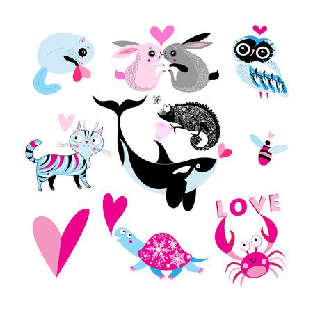 Valentijnsdag thema dierlijke illustratie.