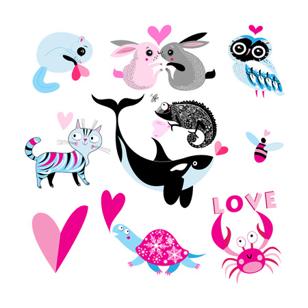 Valentines Day themed animal illustration.