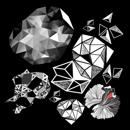 Vector set of abstract elements on a black background Фото со стока