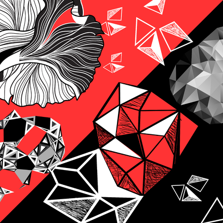 Vector set of abstract elements on a black  and red background