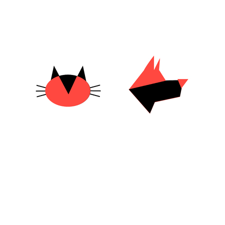 Bright icons of a portrait of a dog and a cat on a white background 版權商用圖片