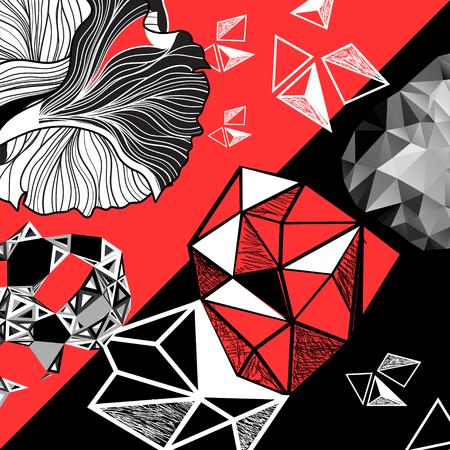 Vectorreeks abstracte elementen op een zwarte en rode achtergrond Stock Illustratie