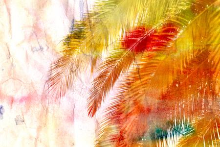 Retro beautiful multicolored palm trees at sunset