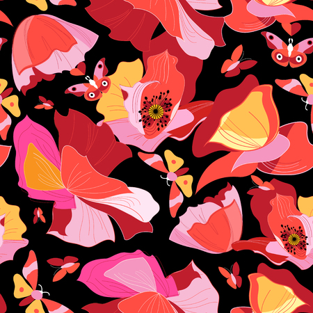 Seamless bright pattern of red gorgeous poppies on a dark background with butterflies
