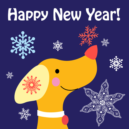 New Year  card with a yellow dog and snowflakes on a blue background