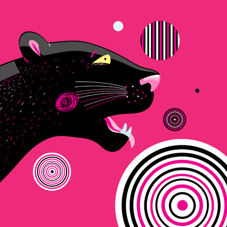 Vector portrait of a black panther with an abstract background
