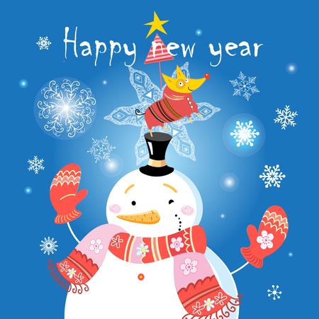 雪だるまと雪の結晶の青の背景に犬とのお祝いクリスマス カード