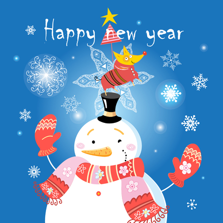 Festive Christmas card with a snowman and a dog on a blue background with snowflakes
