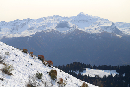 Gorgeous photos of snow-covered mountains sunny bright day at altitude Stock Photo