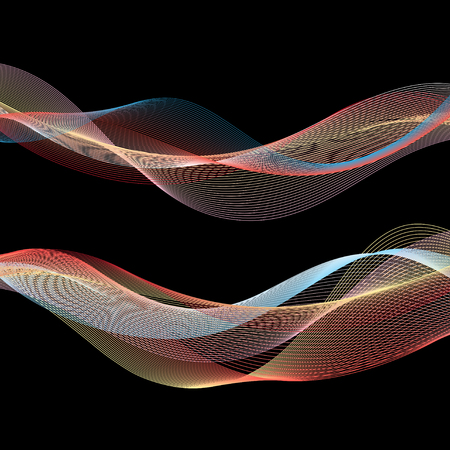 Vector multicolored abstract waves on a black background Ilustração