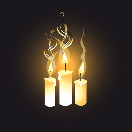 graphic bright candles on a dark background