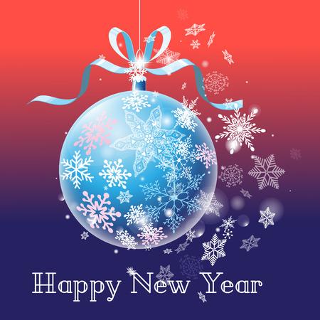 雪の結晶を背景に新年のボールを持つグリーティングカード