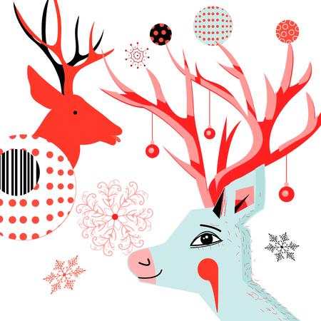 사슴과 눈송이의 초상화와 함께 신년 카드