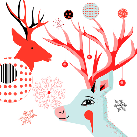 New Year card with portraits of deer and snowflakes