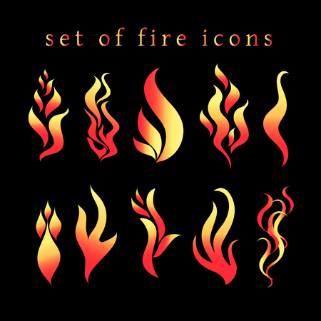 Beautiful vector fire icon set on a black background