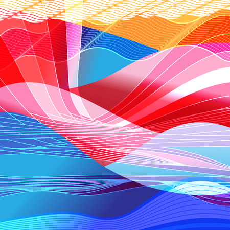 Abstract colored background with wavy elements