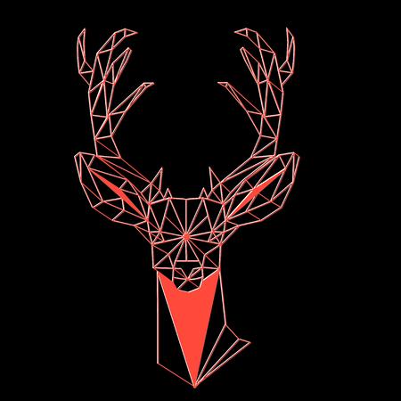 Christmas geometric outline portrait of a deer on a dark background Illustration