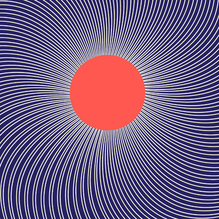 Graphic picture with the sun on a linear luminous background Illustration
