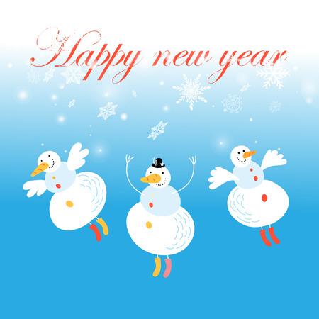 Tarjeta de Navidad con muñecos de nieve y copos de nieve Ilustración de vector