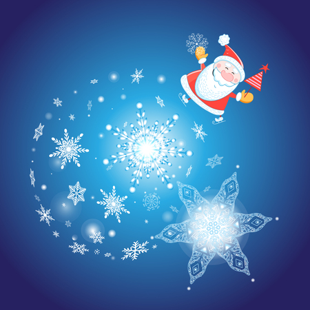 빛나는 눈송이와 파란색 배경에 산타 클로스와 축제 크리스마스 카드