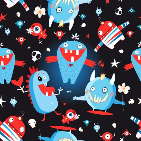 Naadloos heel patroon met monsters en schedels op een donkere achtergrond Stock Illustratie