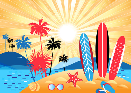 Bright summer color landscape with palm trees and beach on a sunny background