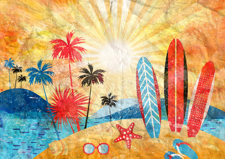 Watercolor bright summer color landscape with palm trees and beach on a sunny background Stock Photo