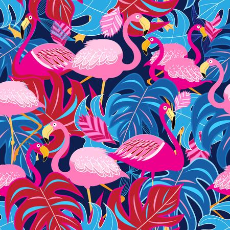 美しい明るい花とフラミンゴのパターン。