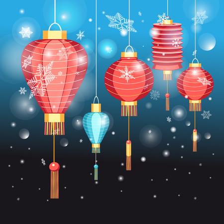 濃い青色の背景にクリスマスカード中国の提灯  イラスト・ベクター素材