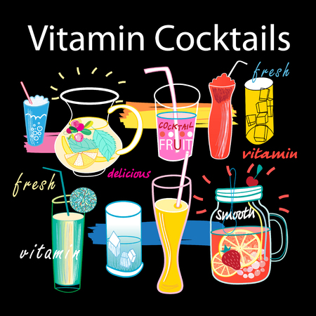 Beautiful graphics set of vitamin cocktails Ilustração